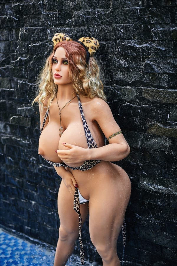 140 cm irontech sex doll maria showing one open nipple from left side