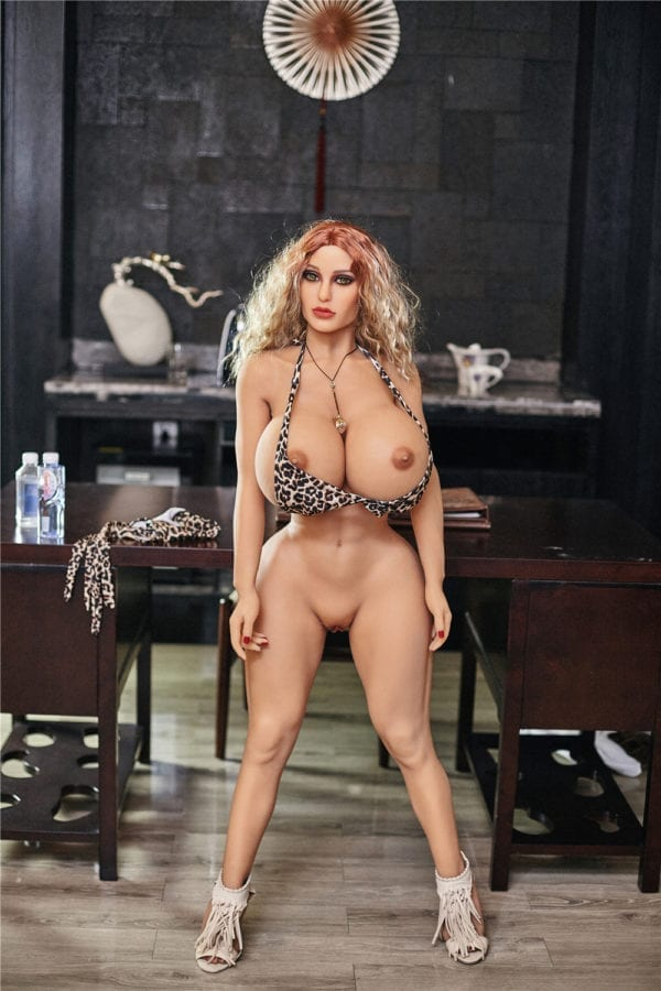140 cm irontech sex doll maria showing one open nipple standing