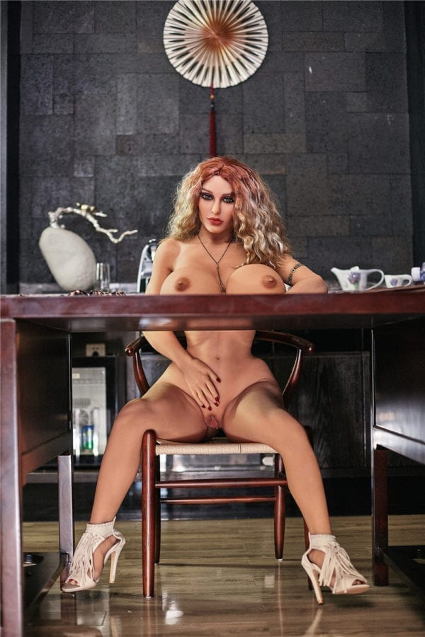 140 cm irontech sex doll maria showing nude pussy under table